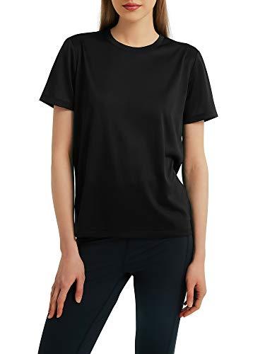 Woolicity Damen T-Shirt Kurzarm Yoga Tops Casual Sport Shirt Running Fitness Shirts Sportbekleidung Kurzarm Oberteile Top Schwarz L