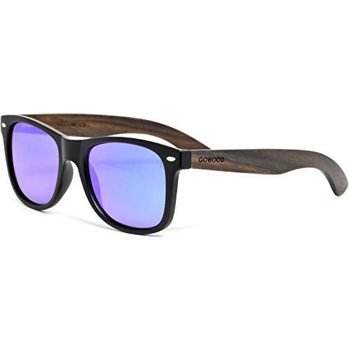GOWOOD Ebenholz Sonnenbrille Herren und Damen Blau Verspiegelt Polarisiert