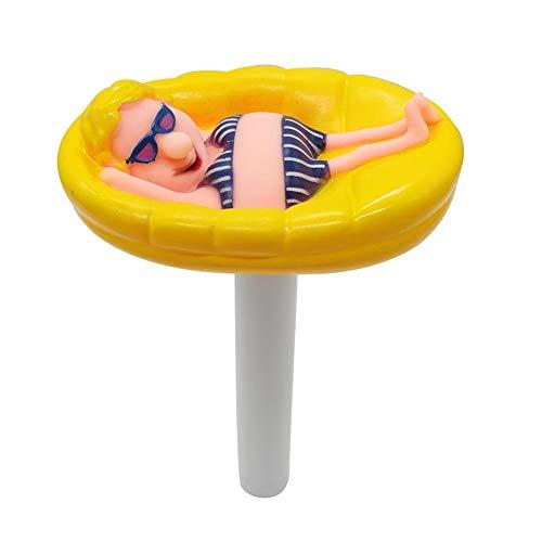 Poolthermometer für Schwimmbad Floating Pool Wassertemperatur Thermometer mit String Bruchfest Poolzubehör für Außen und Innen Pools, Babypool Aquarien Fischteiche (Gelb)