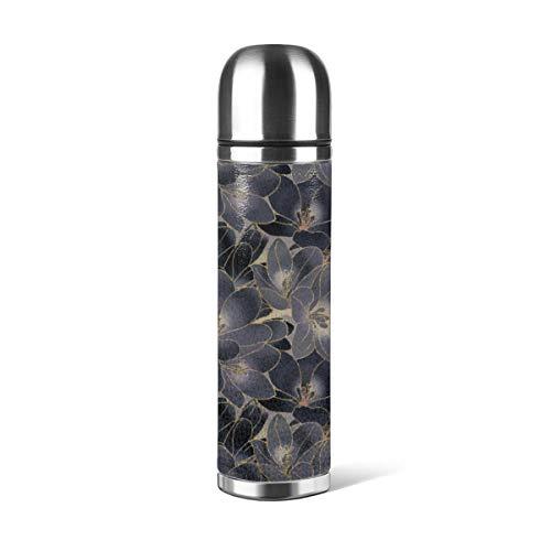 Art Fan-Design Botella de agua de acero inoxidable, diseño vintage, color azul marino, gris ahumado, floral, aislado al vacío, de cuero, a prueba de fugas, contenedor de viaje de doble pared, termo de 500 ml