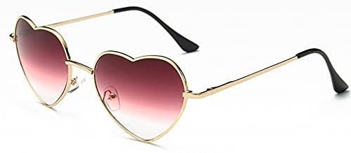 Gafas de Sol Gafas De Sol con Forma De Corazón para Mujer, De Metal, A La Moda, Sin Montura, Love, Lentes Transparentes para El Océano, Gafas De Sol Uv400 C2