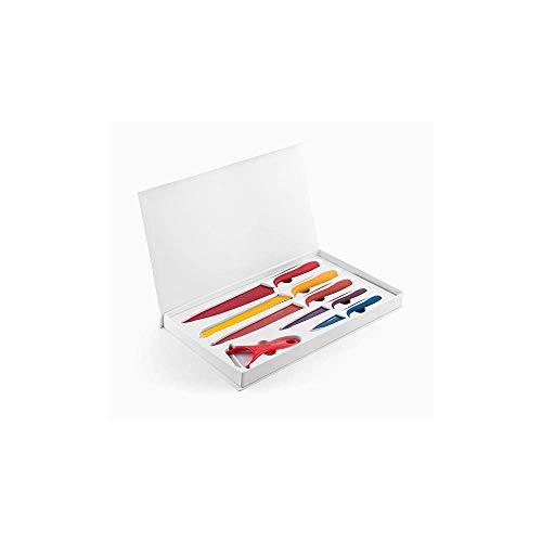 InnovaGoods Juego de Cuchillos y Pelador, Acero Inoxidable, Multicolor, 38x24x3 cm