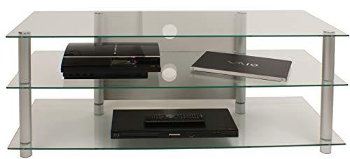 VCM TV Rack Lowboard Konsole LCD LED Fernsehtisch Möbel Bank Glastisch Tisch Schrank Aluminium Klarglas