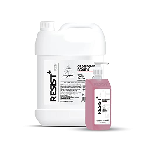 RESIST+ 70% Alcohol-Based Hand Sanitizer (Chlorhexidine + Ethanol) Combo of 5 L Refill + 500 ml