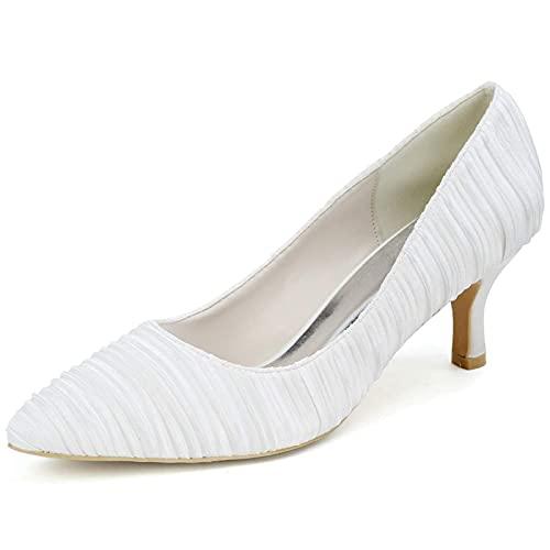 Mujeres Nupcial Zapatos, Puntiagudo Zapato Boda, Satín Medio Bajo Tacón 6.5Cm, Cómodo...