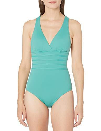 La Blanca Women's Island Goddess Multi Strap Cross Back One Piece Swimsuit, Aloe Green, 18W