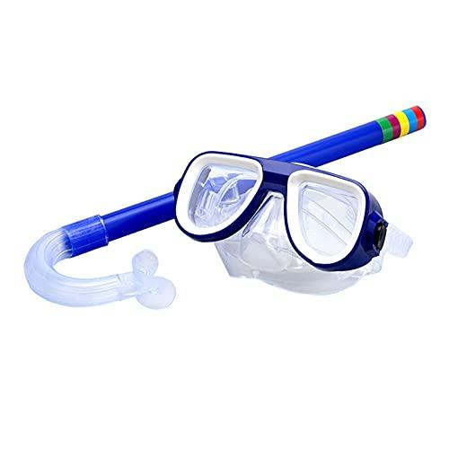 YONGLI Niño Buceo Snorkeling Natación Scuba Total Snorkel Seco Snorkel Y Máscara Lente De Vidrio PVC Anti-Niebla Recubrimiento Lente De Gama Alta PC Protección (Color : Blue)