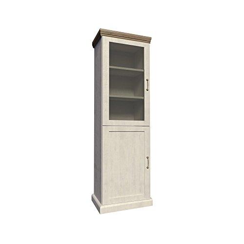 Furniture24 Vitrine ROYAL W1D, Schrank, Wohnzimmerschrank, 2 Türiger Vitrinenschrank