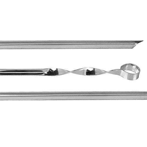 Reckless Spieße Schaschlikspieße Set Edelstahlspieße, 10 Stück, Ecke, in einem Köcher 560x14x1,5 mm