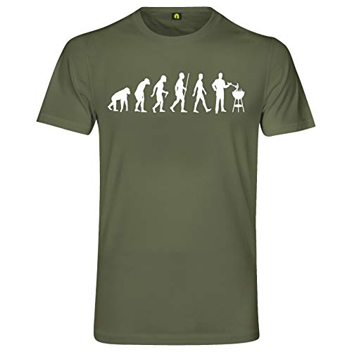Evolution Grillen T-Shirt | Grill | Barbecue | Brutzler | Fleisch | Steak Militär Grün 2XL
