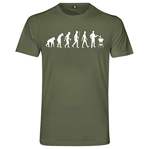 Evolution Grillen T-Shirt | Grill | Barbecue | Brutzler | Fleisch | Steak Militär Grün 2XL