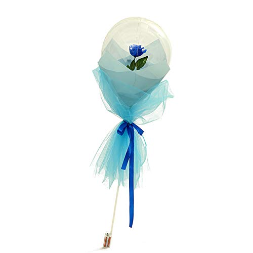 ALIKEEY LED Luminous Balloon Rose Bouquet, Transparent Light Up Balloons Christmas Decorate Gift for Women Girlfriend Anniversary Festival Valentine's Day Christmas Birthday Party Decoration (Blue)
