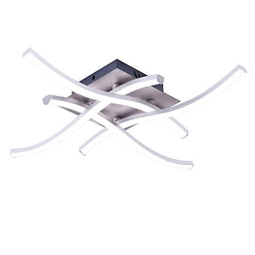 Wowlela LED Deckenleuchte, Kronleuchter Lampe Modernes gebogenes Design Deckenleuchte mit 4 PCS Wellenlicht für Wohnzimmer Schlafzimmer Esszimmer (28W 4 Lichter kaltweiß)
