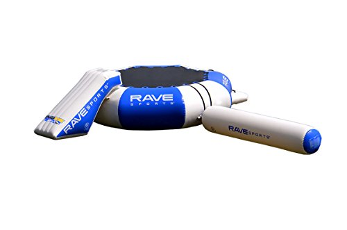 RAVE Sports Splash Zone Plus 12-Foot Water Bouncer with Log, Slide, and Swimming Platform, Blue, 22' x 19.5' x 48' (02010)