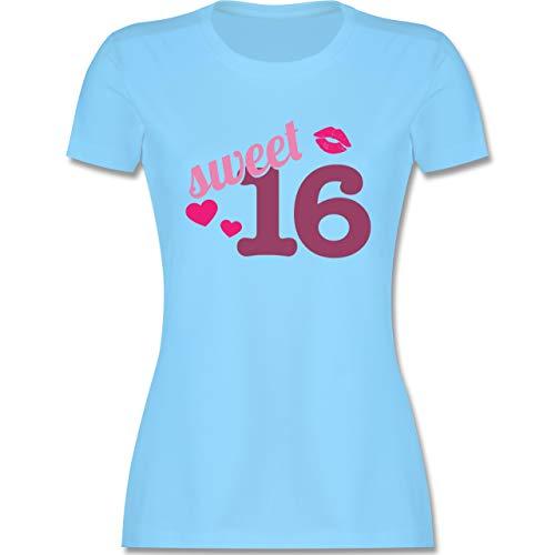 Geburtstag - Sweet 16 - M - Hellblau - t Shirt mädchen zum 16 Geburtstag - L191 - Tailliertes...