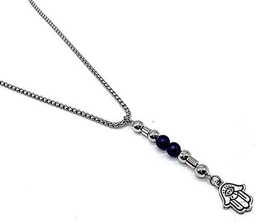 Yiffshunl Collar Nuevo Collar de Cuentas de Ojo de Tigre Azul para Hombres, Colgante Triangular de Acero Inoxidable, Collar para Hombres, joyería, Regalo, Collar para niñas y niños