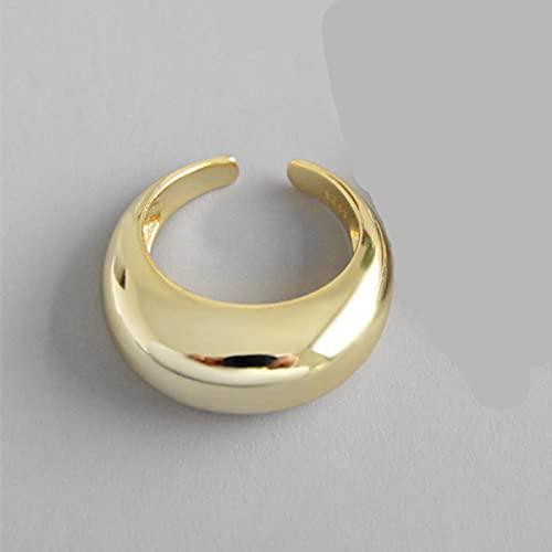 SONGK Colore Oro Colore Argento Metallo Minimalista lucido Anelli larghi aperti Anelli geometrici per gioielli da Donna uomo