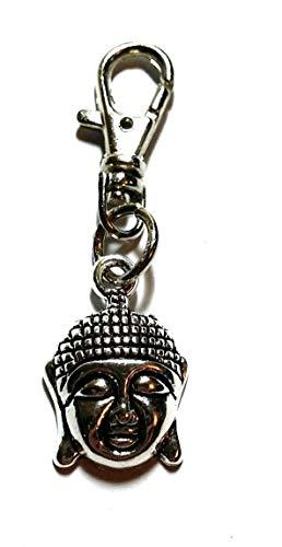 Silver Knight Llavero de cabeza de buda, cierre de amuleto de bolsa...
