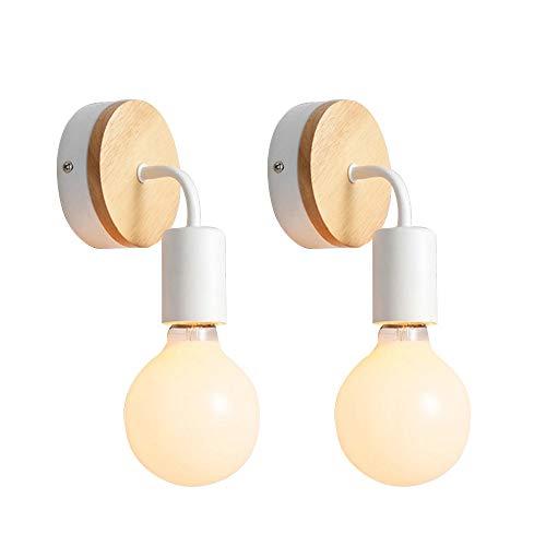 Blanco E27 LED Lámpara de pared Vintage Retro Industria Moderno Metal Aplique de Pared Hierro y Madera Dormitorio Estudio Loft Restaurante, 2 paquetes