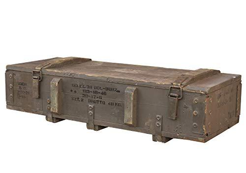 Obstkisten-online Große Militärtruhe Typ 120 aus Holz, 80x40x25cm - Militär Truhe Offizierskoffer Aufbewahrungskiste Munitionsbox Militaria