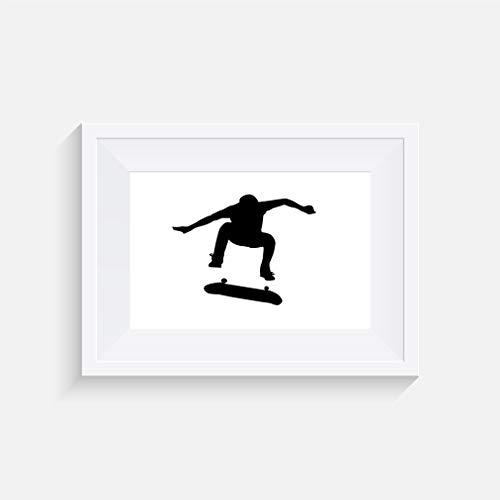 Skateboard Nollie Kickflip Inspirier - Drucken - Poster - Graustufen - Wandkunst- verschiedene Größen(Rahmen Nicht Inbegriffen)