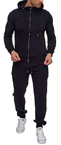 Reslad Trainingsanzug Herren Jogginganzug für Männer Sportanzug Freizeitanzug Jogginghose + Zip Sweatshirt Oberteil RS-5063 Schwarz L