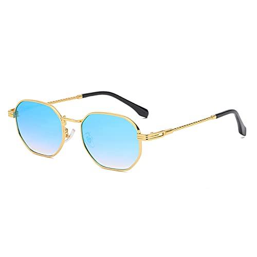 LUOXUEFEI Gafas De Sol Gafas De Sol Cuadradas De Montura Pequeña Gafas De Sol Masculinas Gafas De Exterior Femeninas Espejo Verde Azul