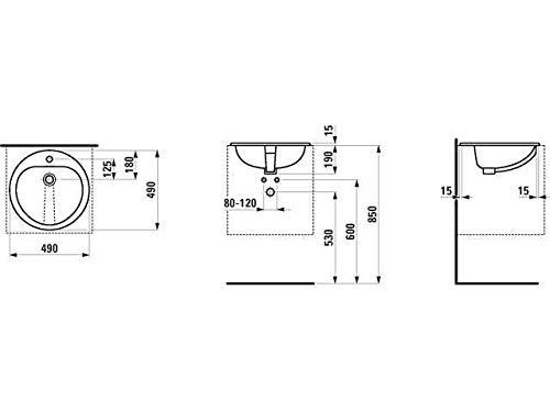 Laufen Einbauwaschtisch von Oben Fiora 1 Hahnloch mit Überlauf d:490 weiß, Farbe: Weiß