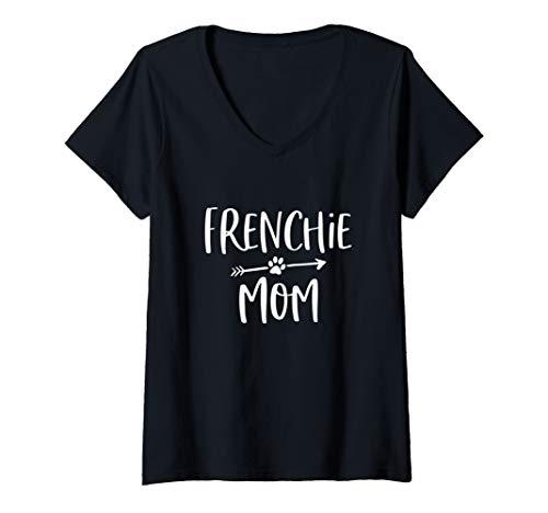 Womens I Love My Frenchie Cute French Bulldog Mom Gift V-Neck T-Shirt
