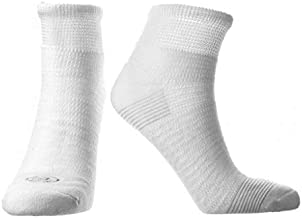 Doctor's Choice Men's Diabetic & Neuropathy Socks, Quarter Length, Non-Binding with Aloe, Antimicrobial, Ventilation, and Seamless Toe, 2-Pairs, White, Mens Large: Shoe Size 8-12