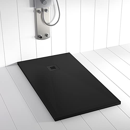 Shower Online Plato de ducha Resina PLES - 70x180 - Textura Pizarra - Antideslizante - Todas las medidas disponibles - Incluye Rejilla Color y Sifón - Negro RAL 9005