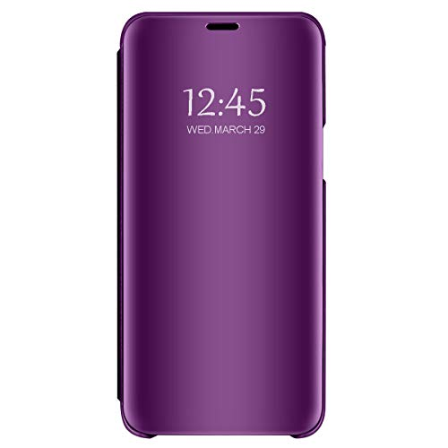 hongmeng Compatible Galaxy S8 Luxury Flip Case with Clear View Translucent Wallet Cover and Full Body Protection Standing Case Cover for Galaxy S8 (Purple, Samsung Galaxy S8)