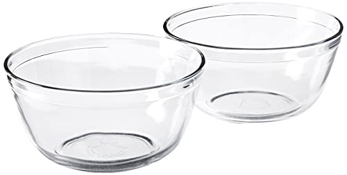 Anchor Hocking 4-Quart Glass Mixing Bowl, Set of 2, Clear, Model Number: