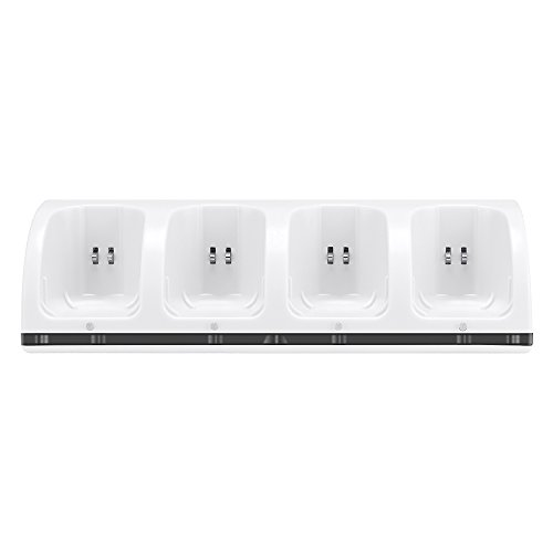 Lavuky 4 Port Charger Dock Station for Wii Remotes with 4 Rechargeable Batteries(Ni-MH) -WD11 White