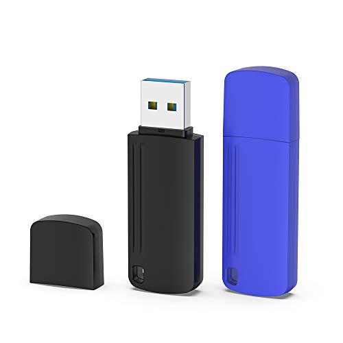 KEXIN Chiavetta USB 32 GB 3.0, 2 Pezzi USB 3.0 Pendrive 32GB Unità Flash Drive Penna con Cappuccio Memoria Esterna Compatibile per PC Laptop Mac TV Auto [Nero Blu]