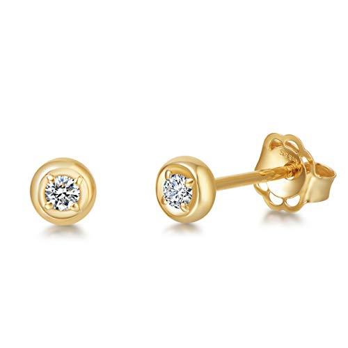 Pendientes de oro amarillo de 14 quilates 585 con diamante natural (peso de 0,06 quilates, colores I-J, claridad SI1-SI2) en joyería redonda de corte brillante para damas - Diámetro: 4 mm