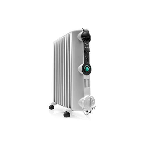 De'Longhi Radia S - Radiador con Comfort Temp, 9 elementos, color blanco y negro
