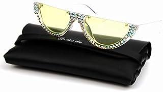 TYJYY Sunglasses Lunettes De Soleil Petit Œil De Chat Femmes Rose Clair Lentille Vintage Transparent Dégradé Strass Lunett...