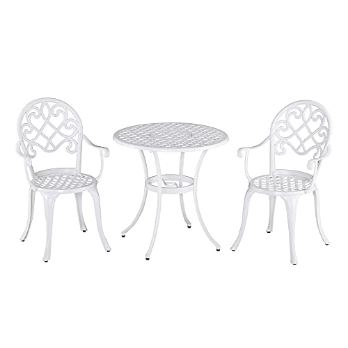Outsunny 3PCs Garden Bistro Set Cast Aluminium Round Table with 2 Chairs for Outdoor Patio Balcony White