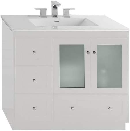 Amazon Com Ronbow Essentials Shaker 36 Inch Bathroom Vanity Cabinet Base In White Finish With Soft Close Frosted Glass Doors On Right And Full Extension Drawers 081936 1r W01 Tools Home Improvement