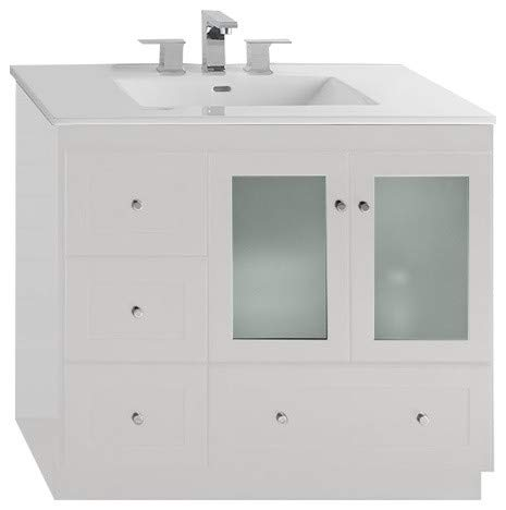 RONBOW Essentials Shaker 36 Inch Bathroom Vanity Cabinet Base in White Finish, with Soft Close Frosted Glass Doors on Right and Full Extension Drawers 081936-1R-W01