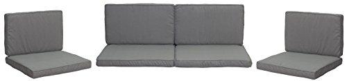 Monaco Lounge Sitzkissen für Rattan Gartengruppen in hellgrau 8 Kissen 50% Polyester 50% Baumwolle mit Reissverschlüssen Bezug abnehmbar