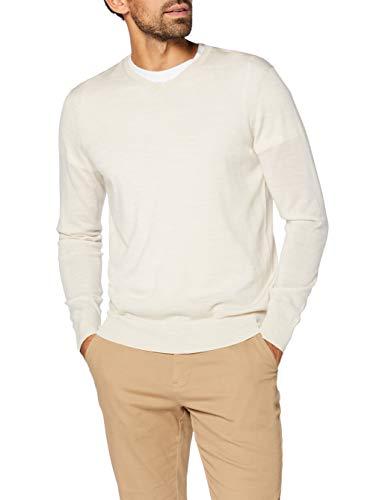 Amazon-Marke: MERAKI Merino Pullover Herren mit V-Ausschnitt, Beige (Haferflocken), XL, Label: XL