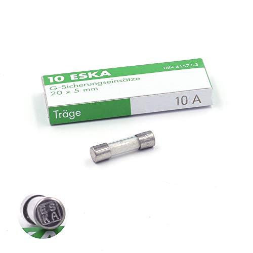 Schmelzsicherung, träge (T), aus Glas, 10A/250VAC, 5x20mm, 10 Stück