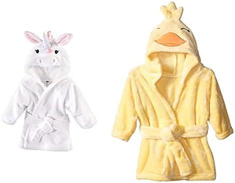 Hudson Baby Girl Plush Animal Face Bathrobe 2-Pack, Rainbow Unicorn Yellow Duck
