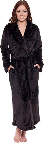 Silver Lilly Women's Full Length Luxury Long Bathrobe - Soft Plush Comfy Long Robe (Sizes Small - Plus Size XXL) (Black, XX-Large)
