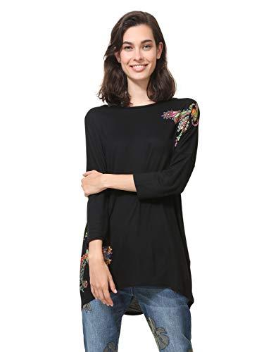 Desigual Damen 3/4 Sleeve Nai Woman Black T-Shirt, Schwarz (Negro 2000), Small