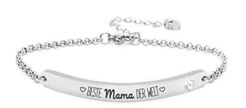 """Silvity Damen Gravur-Armband Edenlstahl veredelt mit einem Swarovski¨ Kristall Motiv:""""Beste Mama der Welt"""" 16,5 cm bis 20,5 cm Frabe: Silber"""