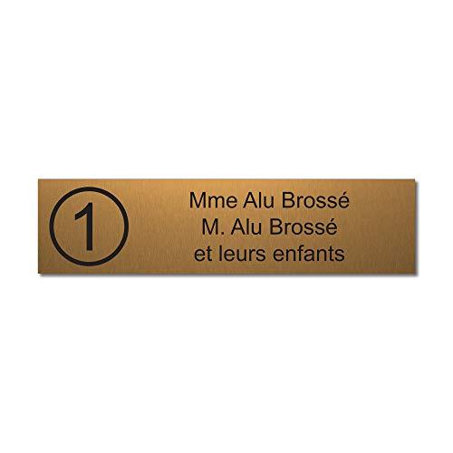 Mygoodprice - Placa grabada para nombre y número de buzón autoadhesivo, 10 x 2,5 cm, personalizada, 1 a 3 líneas, oro cepillado