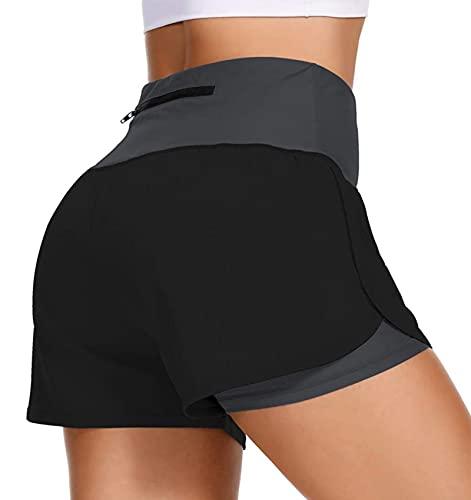uideazone Pantalones cortos de deporte para mujer, 2 en 1, dos capas, pantalones cortos de deporte, fitness, yoga, pantalones cortos con bolsillos, tallas S-XL Negro M